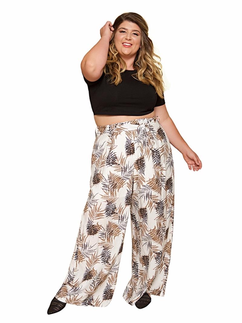 Ericdress Loose Print Plant Wide Legs Full Length Casual Pants