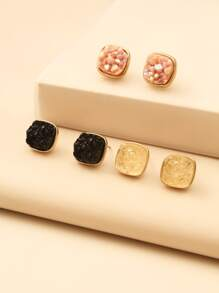 3pairs Geometric Stud Earrings
