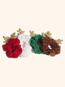 4pcs Girls Christmas Antlers Decor Scrunchie