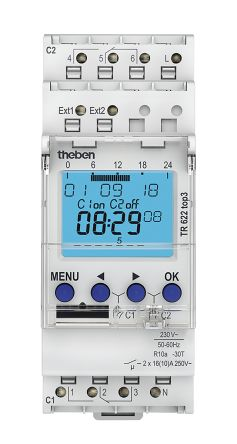 Theben 2 Channel Digital DIN Rail Time Switch, 230 V ac