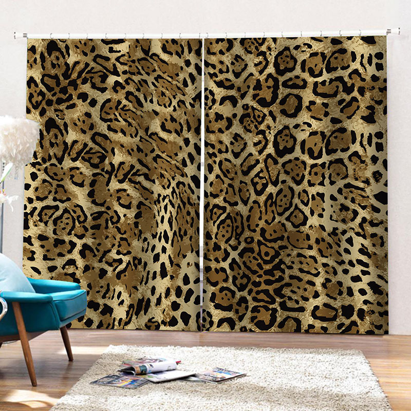 3D Leopard Print  Blackout Curtains 84W 84L Inches Thick Shading Polyester No Pilling No Fading No off-lining Polyester Blend Super Heavy and Soft Han