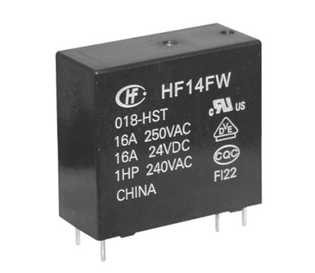 Hongfa Europe GMBH , 5V dc Coil Non-Latching Relay SPNO, 20A Switching Current PCB Mount Single Pole (50)