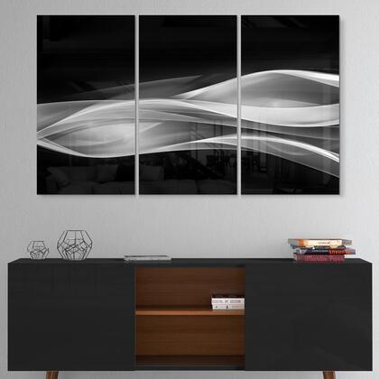 MT7714-3P Glittering Silver Pattern - Multipanel Abstract Metal Wall Art - 36X28 - 3