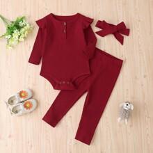 Baby Girl Button Ruffle Rib-Knit Tee Bodysuit & Pants & Headband