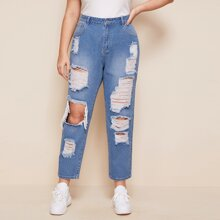 Plus High Waist Ripped Jeans