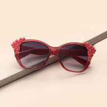 Toddler Kids Floral Decor Acrylic Frame Sunglasses