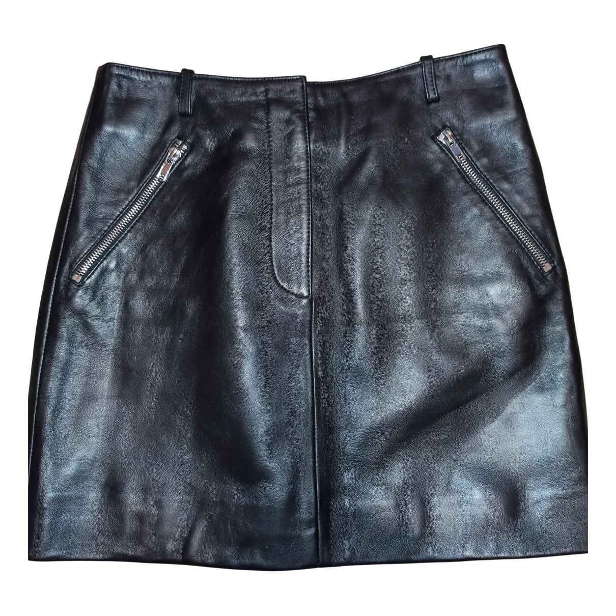 Maje N Black Leather skirt for Women S International