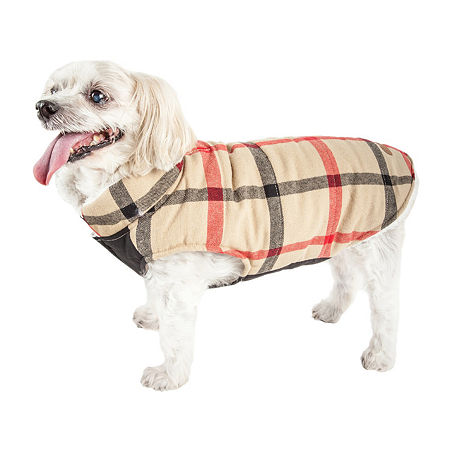 Pet Life  'Allegiance' Classical Plaided Insulated Dog Coat Jacket, Small , Beige
