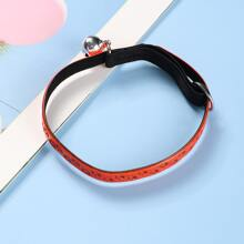 1pc Paw Pattern Cat Collar With Bell