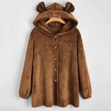 Plus 3D Ears Design Velvet Hooded Coat