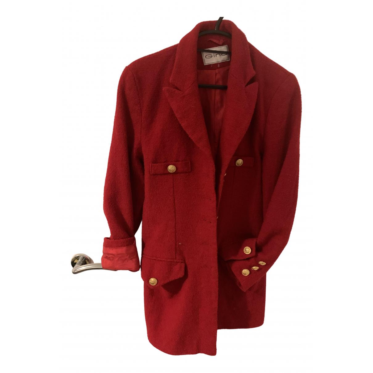 Gina - Veste   pour femme en laine - rouge