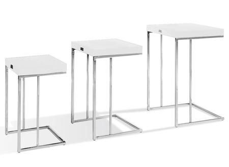 VGUNAK855-35 A&X Amelia End Table Set with Laser-Cut Crocodile Texture Pattern and Stainless Steel Legs in