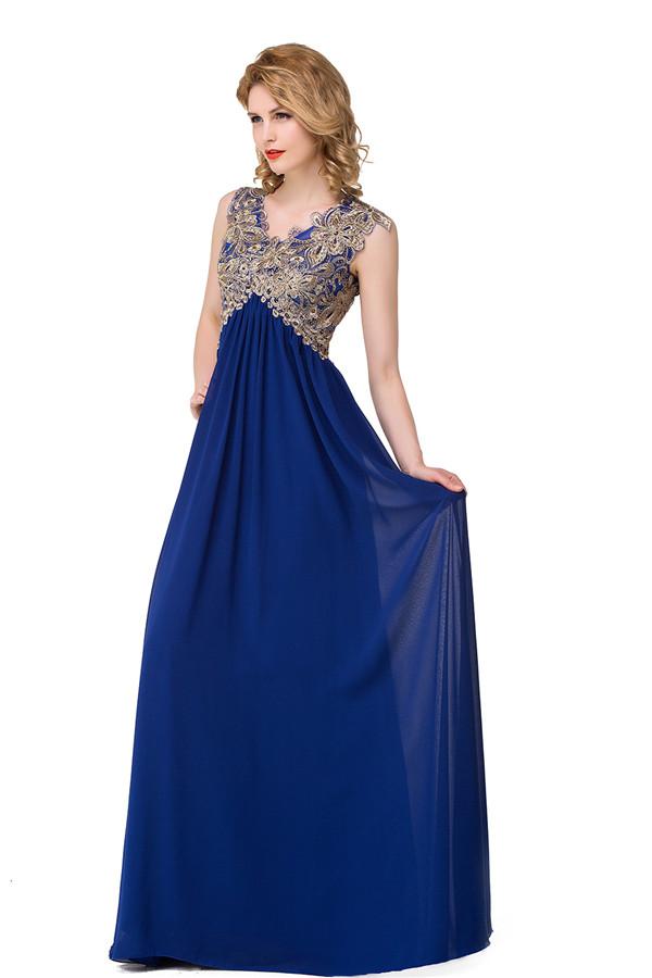 GRETA | A-line V-neck Sweep-length Hollow Formal Dresses With Applique