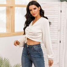 V-neck Drawstring Ruched Crop Sweater