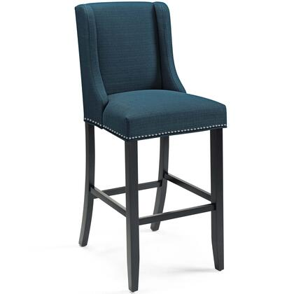 Baron Collection EEI-3737-AZU Bar Stool with Dense Foam Padding  Non-Marking Foot Caps  Polished Nailhead Trim  Solid Rubberwood Legs and Polyester