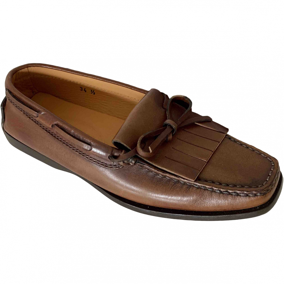 Tod's \N Brown Leather Flats for Women 34.5 EU