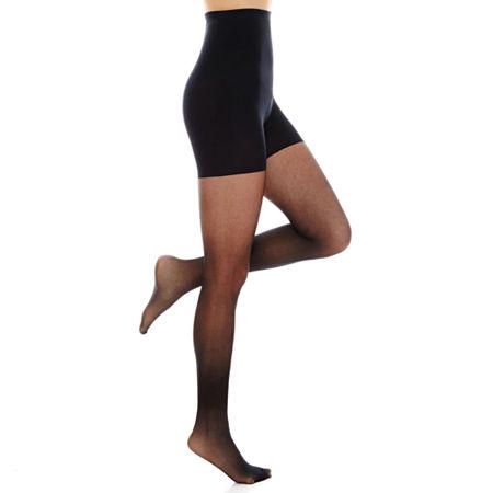 Hanes Powershapers Firm Control High Waist Sheer Pantyhose, Large , Black