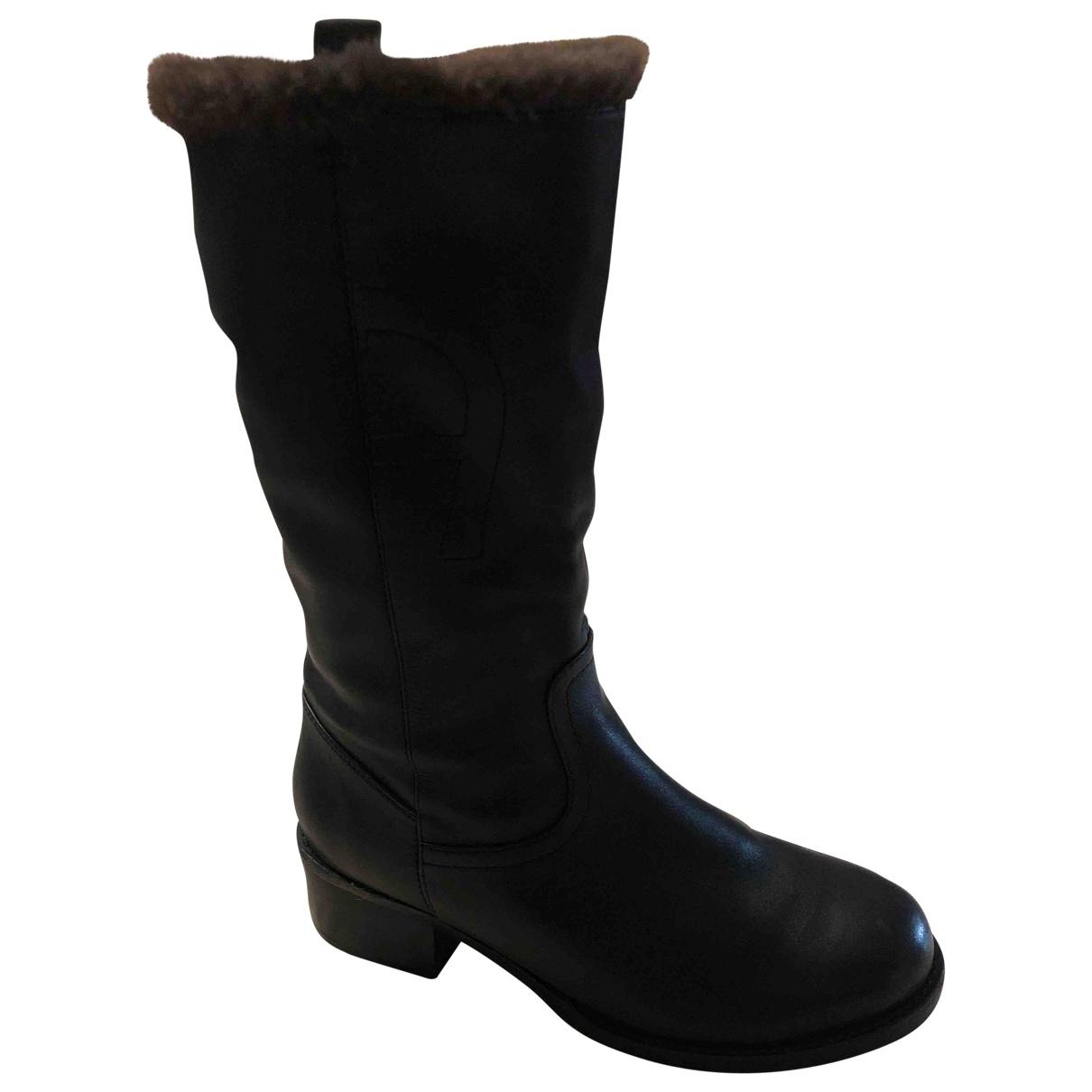 Aigner \N Stiefel in  Schwarz Leder