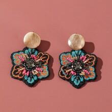 Beaded Flower Charm Drop Earrings