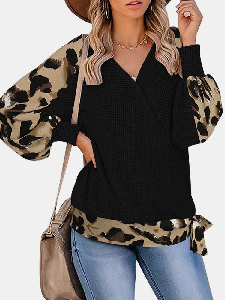 Patchwork Leopard Printed V-neck Long Sleeve Knit Blouse