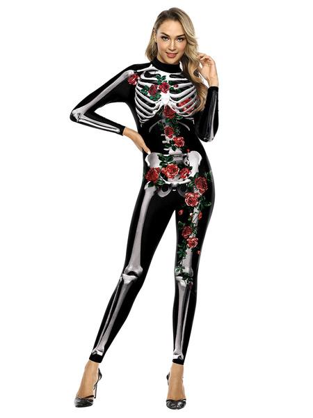 Milanoo Halloween Costumes Black Women\\s Scary Leotard Jumpsuit Polyester 3D Print Jumpsuit Holidays Costumes