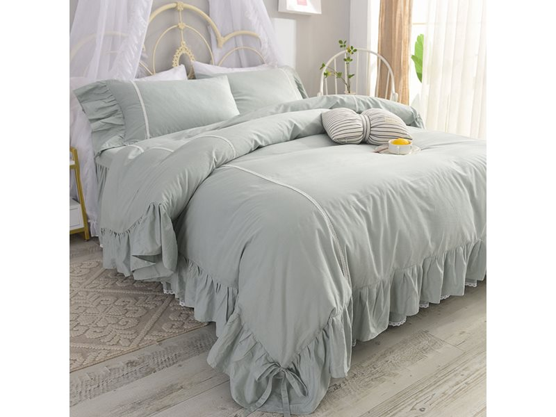 Princess Style Soft Cotton Duvet Cover Sets with Bed Skirt 4-piece European Bedding Sets