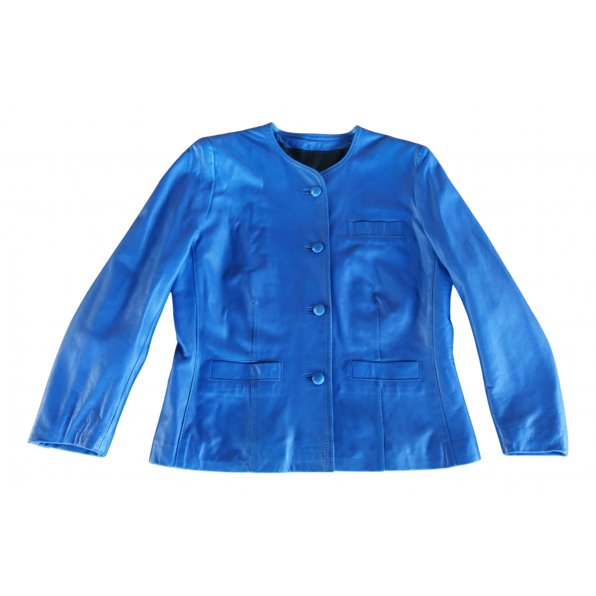Non Signé / Unsigned N Blue Leather jacket for Women 44 FR