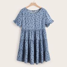 Kleid mit Raffung, Manschetten und Punkten Muster