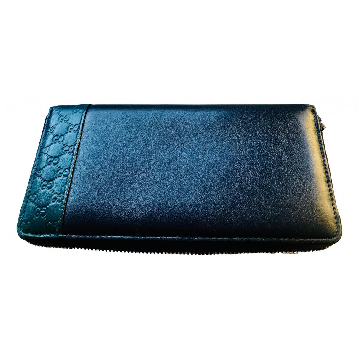 Gucci Continental Portemonnaie in  Marine Leder