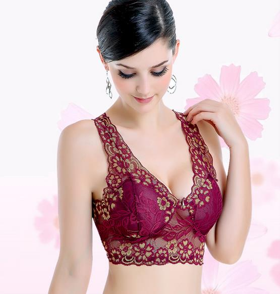 Charming Full Lace Beautiful Back Sports Style Wireless Bra