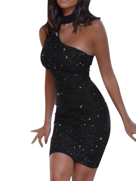 Milanoo Black Sexy Dress Glitter Rhinestones Open Shoulder Club Dress For Women