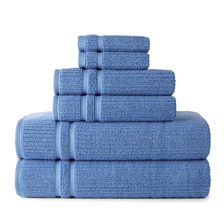 Liz Claiborne Classics 6-pc. Stripes Bath Towel Set, One Size , Blue