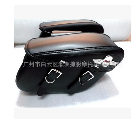 PU Leather Skeleton Wings Logo Heat Insulation Wear-Resisting Motorcycle Saddlebag