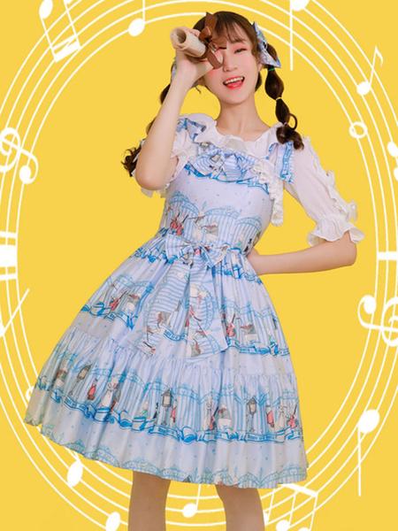 Milanoo Classic Lolita JSK Dress Wonderland Quartet Lace Print Ruffle Light Blue Lolita Jumper Skirt
