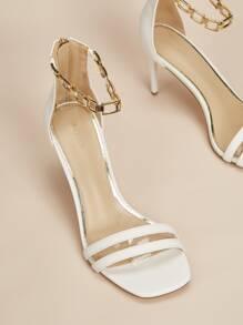 Two Part Stiletto Heeled Sandals