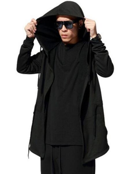 Milanoo Men's Hooded Coat Oversized Black Drawstring Long Sleeve Autumn Coat