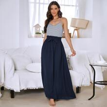 Stripe Frill Trim Belted Cami Dress