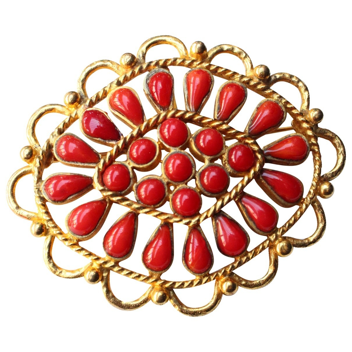Broche Baroque en Metal Rojo Chanel