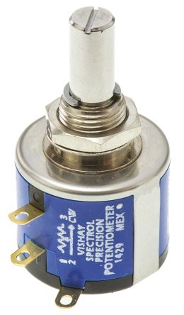 Vishay 535 Series Wirewound Potentiometer with a 6.35 mm Dia. Shaft 5-Turn, 1kΩ, ±5%, 1.5W, ±20ppm/°C, Panel Mount
