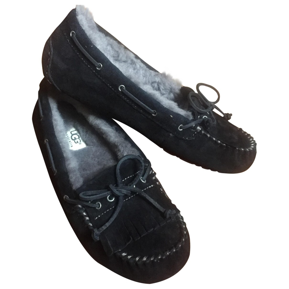 Ugg \N Black Suede Flats for Women 38 EU