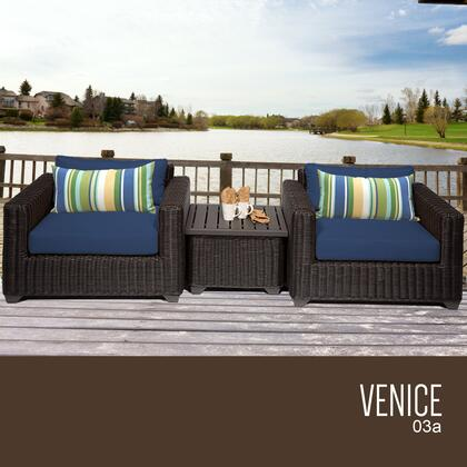 VENICE-03a-NAVY Venice 3 Piece Outdoor Wicker Patio Furniture Set 03a with 2 Covers: Wheat and