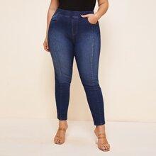 Grosse Grossen - Schmale Jeans mit Waesche und elastischer Taille