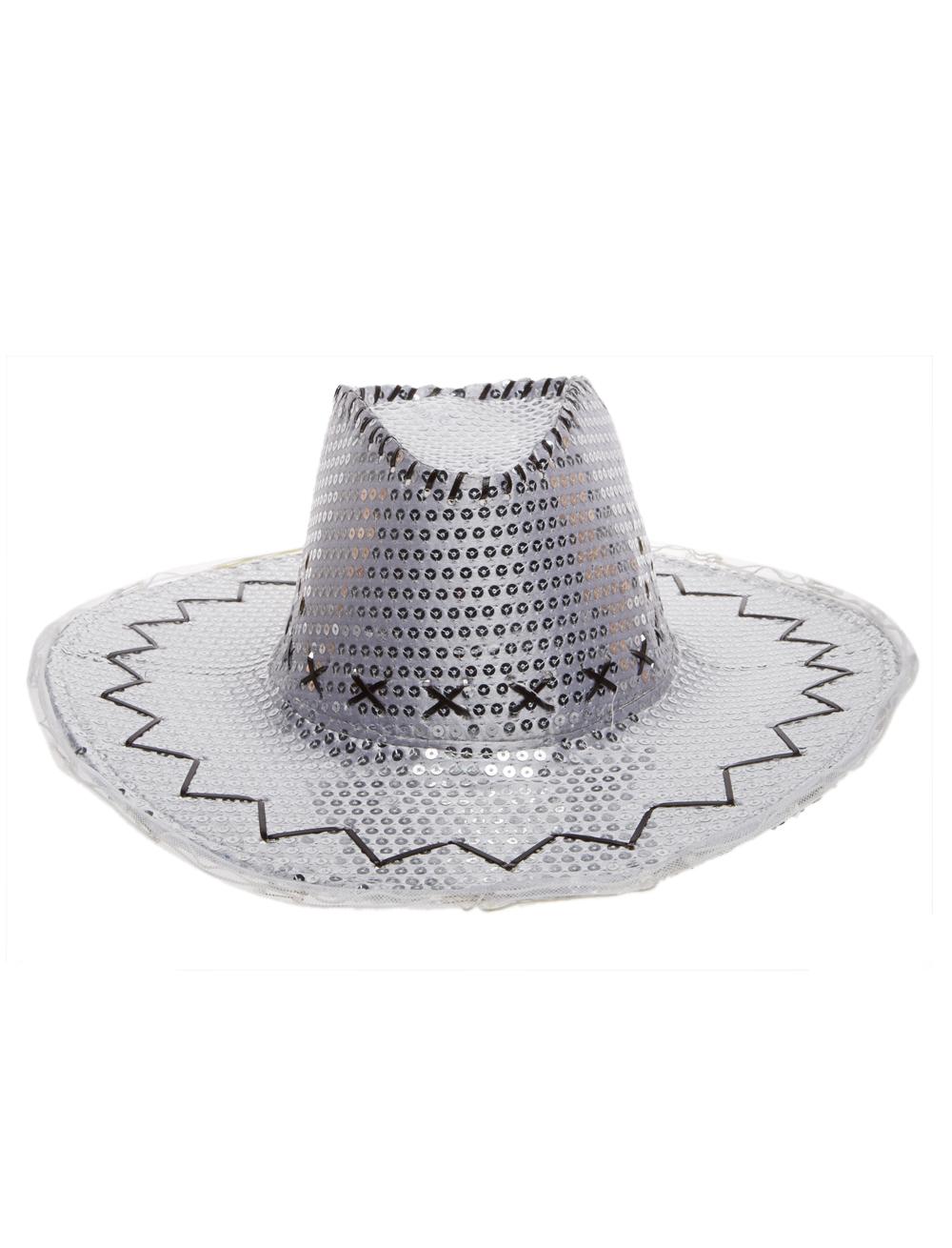 Kostuemzubehor Cowboyhut Pailletten mit Blinkkrempe silber