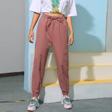 Side Flap Pocket Drawstring Waist Sports Pants