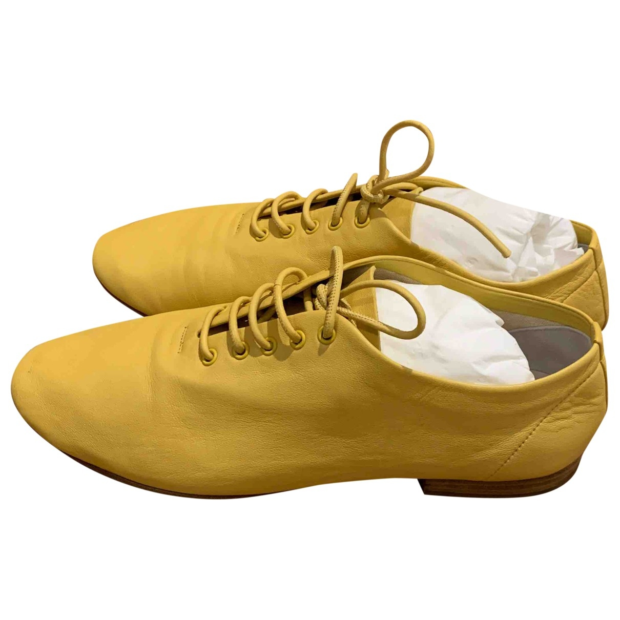Celine \N Yellow Leather Lace ups for Women 37 EU