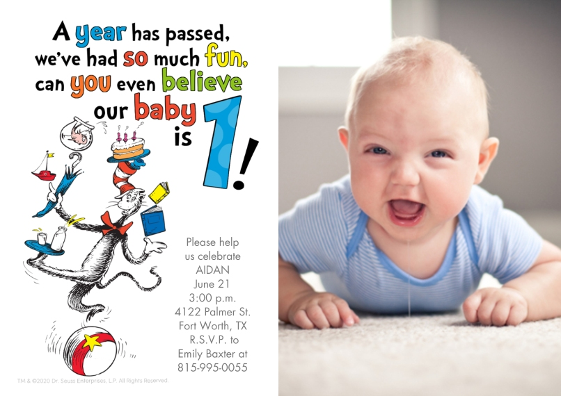 Kids Birthday Party 5x7 Cards, Premium Cardstock 120lb with Elegant Corners, Card & Stationery -Dr. Seuss™ The Cat in the Hat First Birthday by Hallma