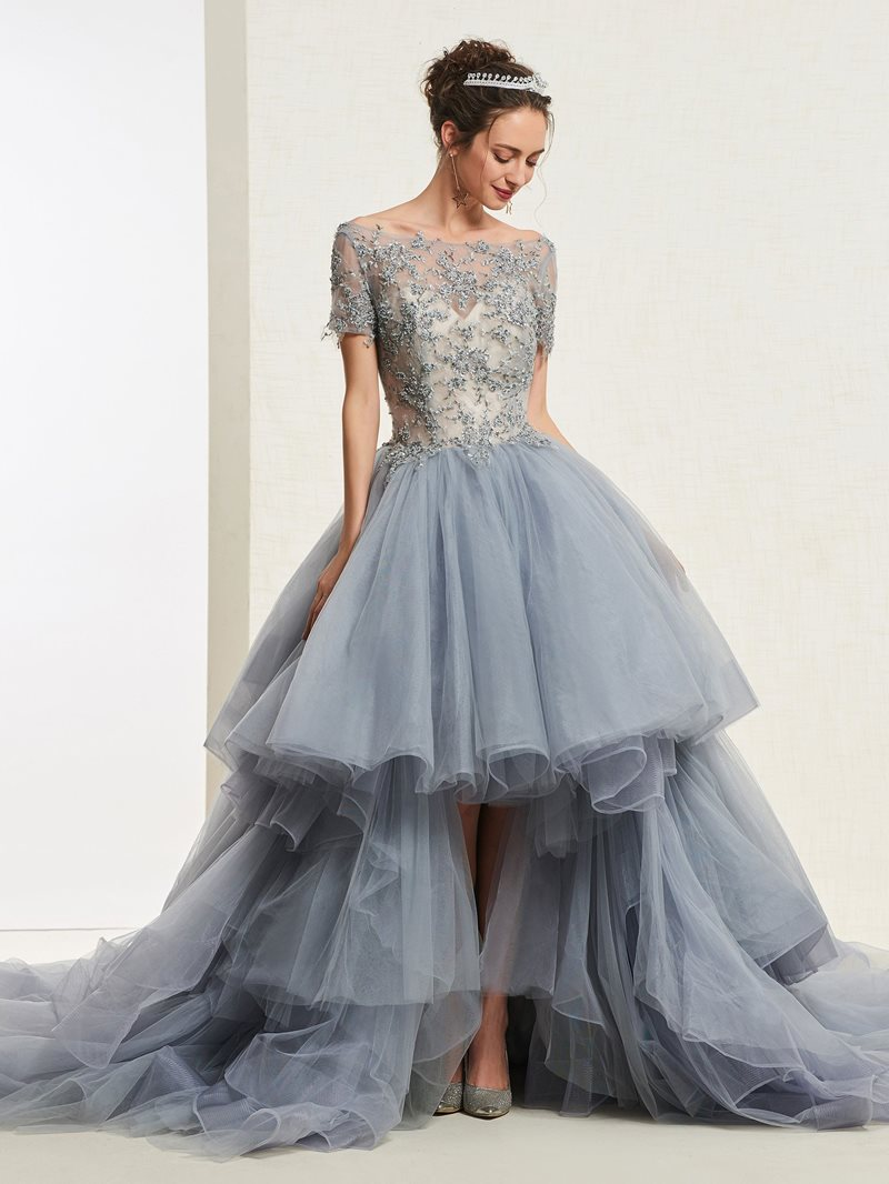 Ericdress Short Sleeves High Low Ball Gown Quinceanera Dress