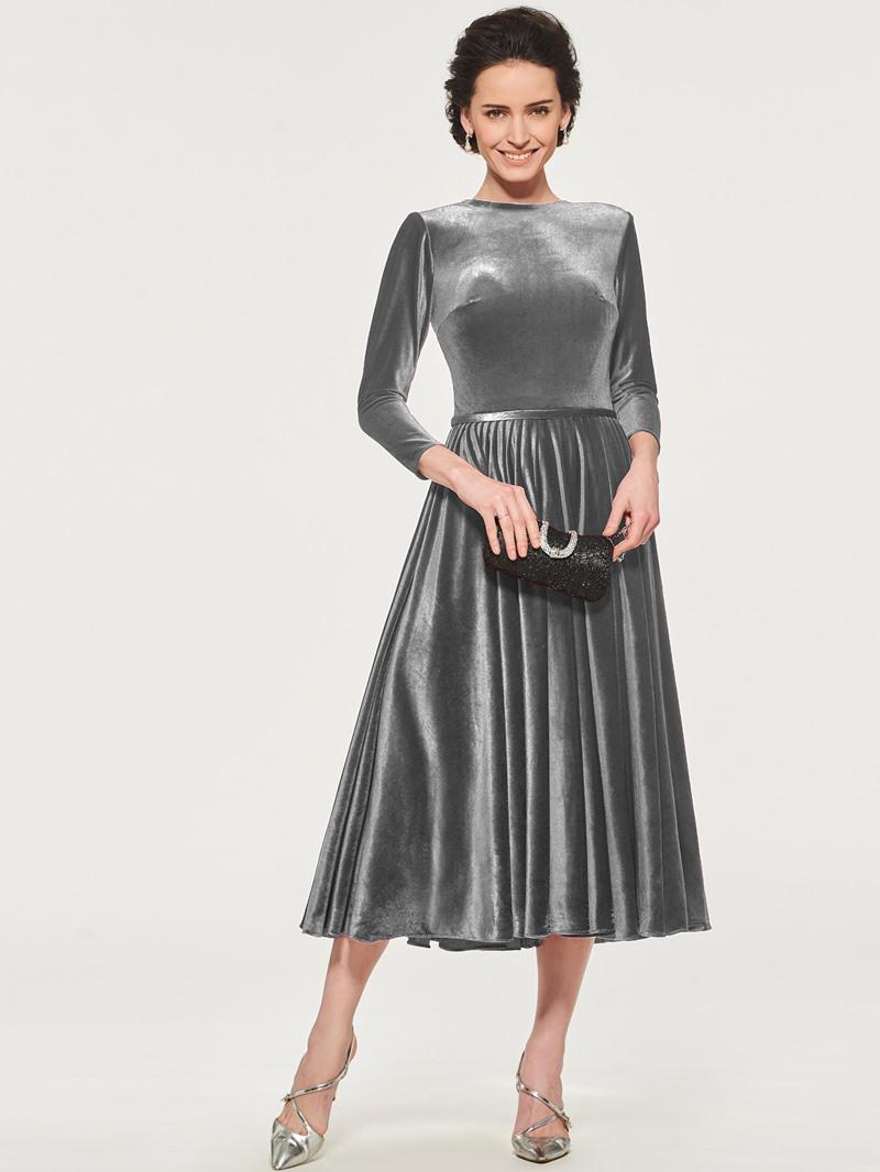 Ericdress Velvet Tea Length Mother of the Bride Dress with Sleeve
