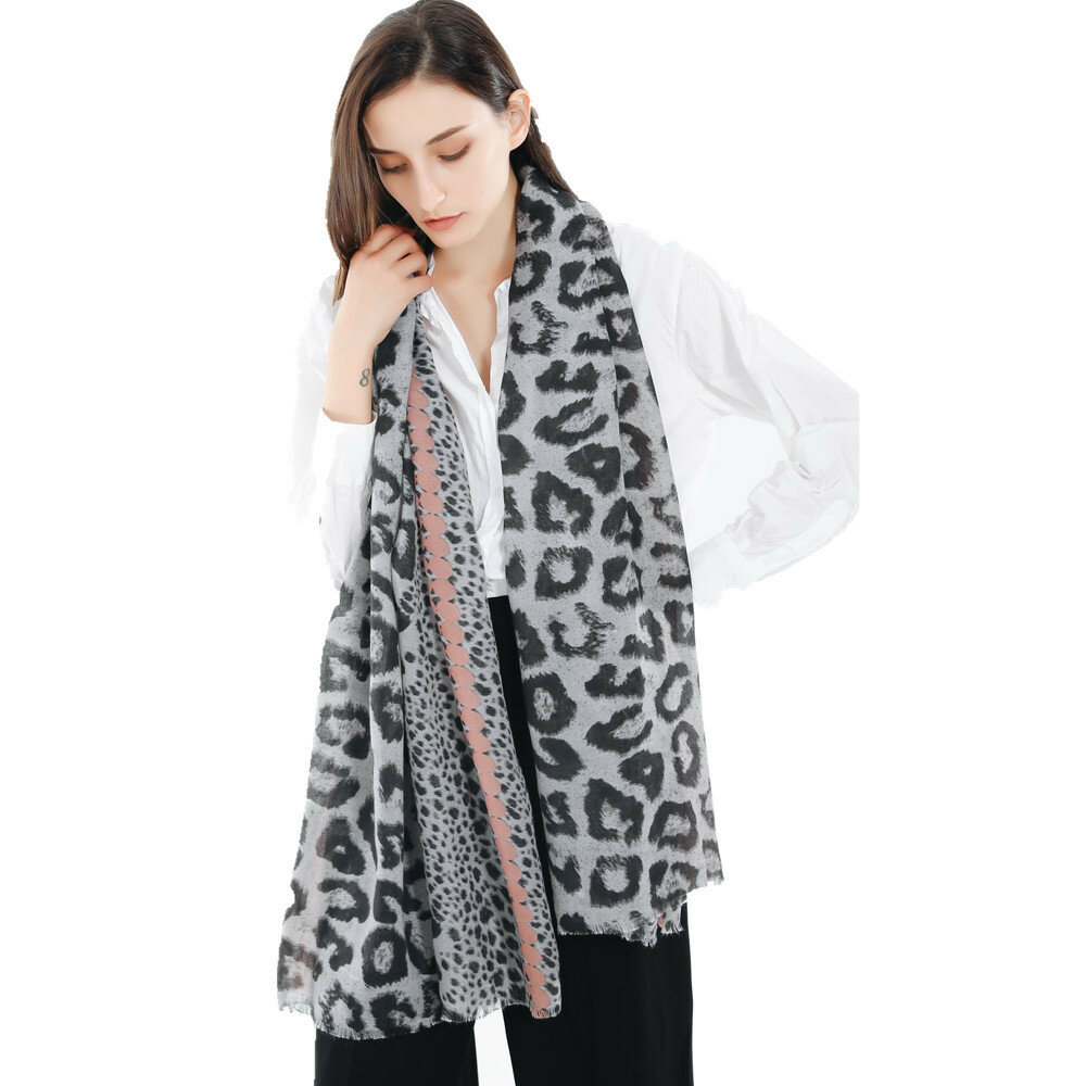 185cm Women Leopard Soft And Comfortable Cotton And Tassel Scarf Shawl Outdoor Casual Warm Scarf