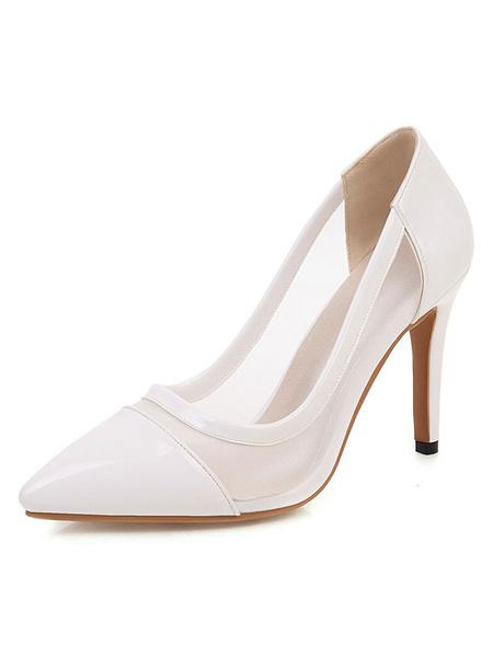 Milanoo Zapatos de tacon negro con punta puntiaguda Tacon de aguja Zapatos sin cordones Mujer Zapatos transparentes